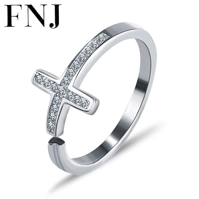 FNJ 100% 925 Silver Cross Ring Wedding Simple Cubic Zircon Adjustable Size S925 Sterling Solid Silver Rings for Women Jewelry simple faux zircon opening ring for women