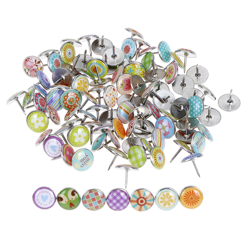 100pcs Fruits Flowers Colored Metal Push Pins Assorted Paper Map Cork Board Capped Fixing Thumbtack Pin Office School Supplies