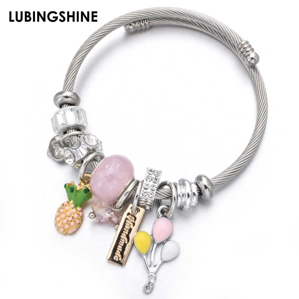 Fashion Love Charms Stainless Steel Bracelets Bangles Crystal Disco Ball Pendant Adjustable Bracelet Jewelry for Women