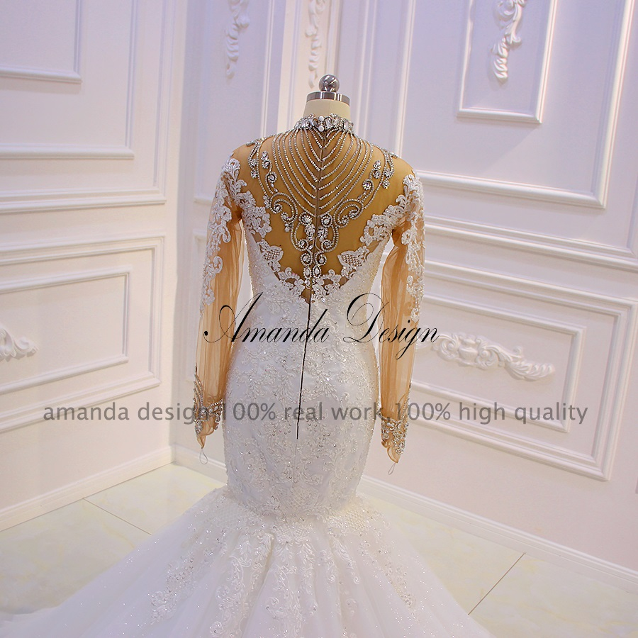 Image 5 - Amanda Design robe mariee Long Sleeves Lace Appliques Crystal See Through Mermaid Wedding DressWedding Dresses   -