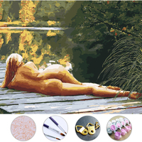 Deck Woman Diy Oil Painting Drawing Frameless Picture On Wall Acrylic Painting By Numbers On The