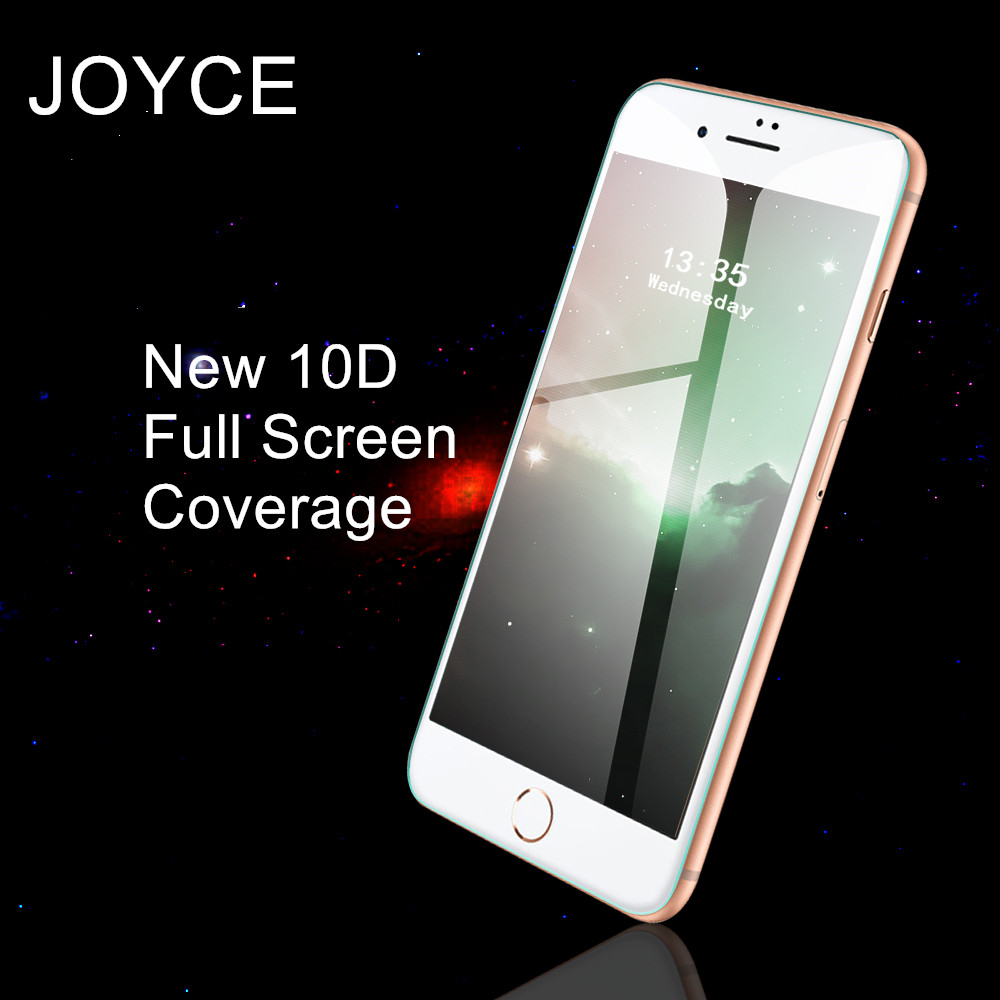 JOYCE  New 10D Tempered Glass Screen Protector Free Shipping For IPhone 6s  7 8 Plus XR XS Max  Full Cover Protective Film Glass