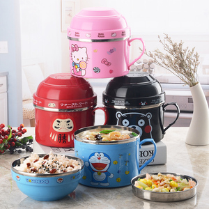 Portable Cartoon Japanese Stainless Steel Lunch Box Snack Cup Fast food Cup Food Storage Container Leak-proof Thermal Insulation
