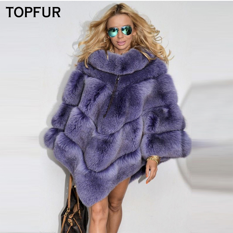 TOPFUR 2018 New Luxury Real Fur Cape For Women Winter Thick Warm Cape With Fur Collar High Quality Natural Fox Fur Shawl