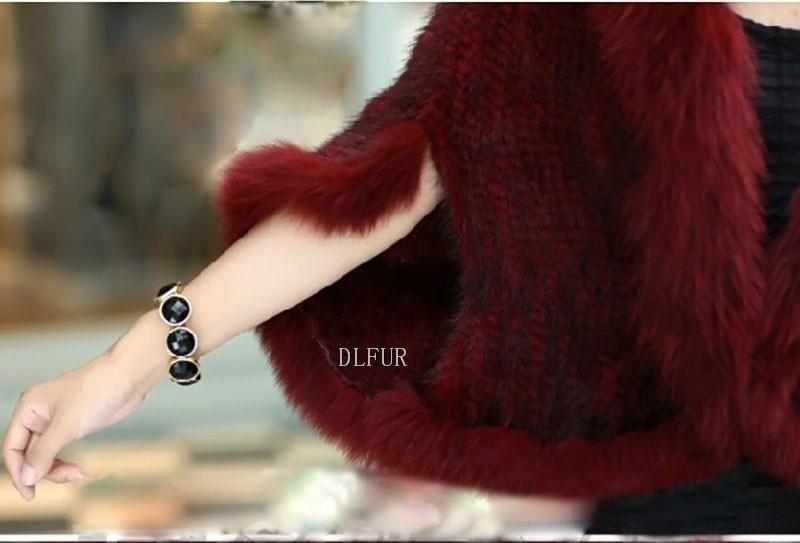 Hot Sale Genuine Mink Fur Shawl With Fox Fur Trim Women Natural Mink Fur Poncho Winter Knitted Mink Fur Jackets DL6235 (10)