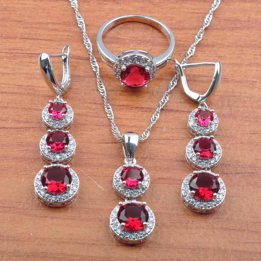 Suprise Rose Red Crystal 925 Sterling Silver Jewelry Set For Women Earrings Necklace Pendant Rings Bracelet Set Hot Sale JS0494