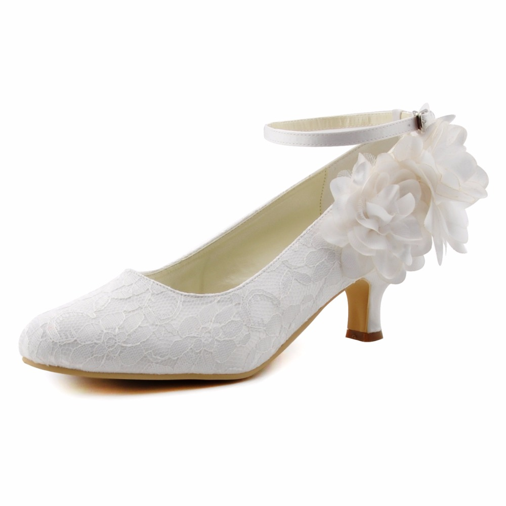ФОТО Women HC1612 Closed Toe Mid Heels Comfortable Ankle Strap Flowers Pumps Satin Lace Bride Wedding Bridal Shoes