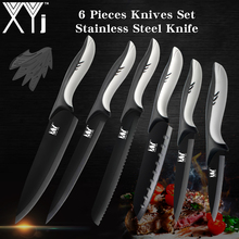 XYj Germany Steel Kitchen Knives Set Black Blade Stainless Knife Shark Shape Handle Chef Cooking Best Gift