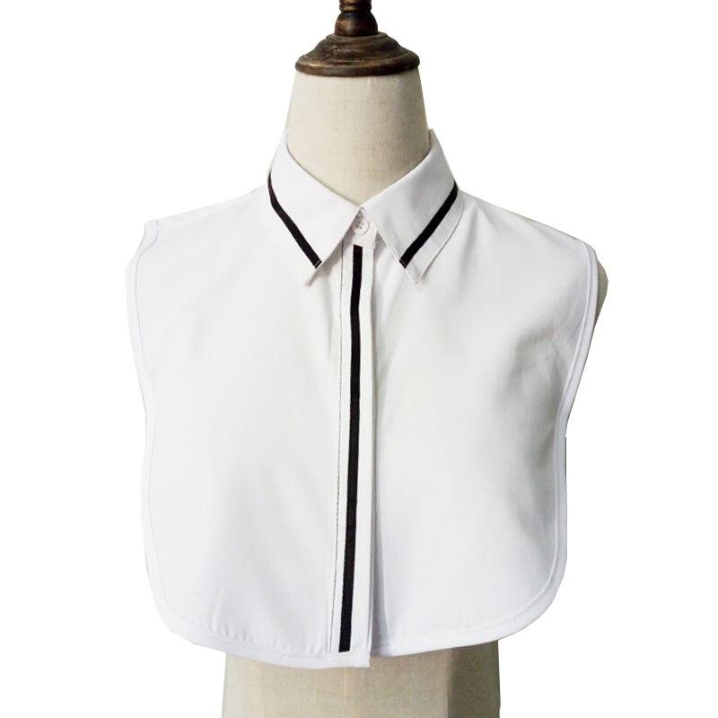Vintage White Fake Collar Women Detachable Collars Stripe False Collar Shirt Tie Plaid Female Removable Dickie Shirt Women