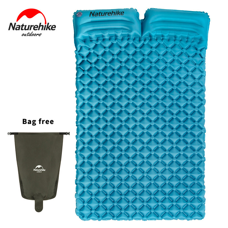 NatureHike Outdoor Inflatable Ultralight Double Sleeping Pad 2 Person Camping Pad Mat Tent Air Mattress With Pillows outdoor double layer 10 14 persons camping holiday arbor tent sun canopy canopy tent