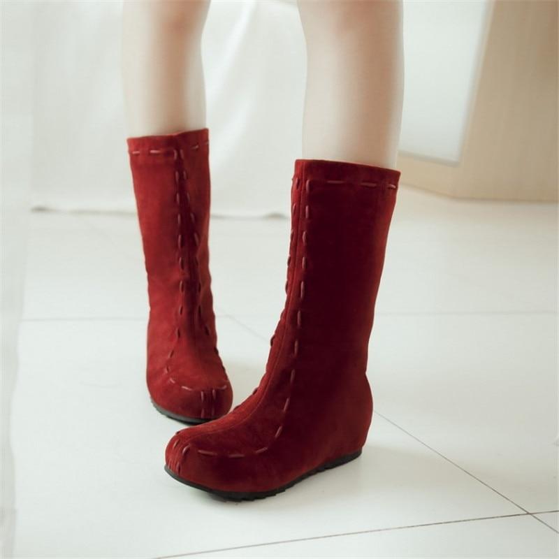 Negro Botas on Mujeres Invierno Punta Cuña Redonda amarillo rojo Las 47 Nieve De Pop Tamaño Zapatos Nuevo Moda Gran 34 brown Slip Maziao Hw0AqxpH