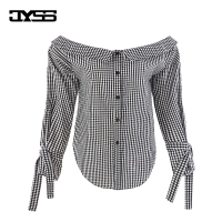 JYSS Europe And The United States Autumn New Plaid Long Sleeved Sexy Strapless Fashion Shirt Women