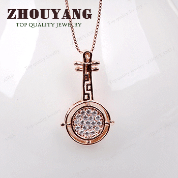 ZHOUYANG Top Quality ZYN374 Noble Crystal Rose Gold Color Fashion Pendant Jewelry Made with Austria Crystal Wholesale