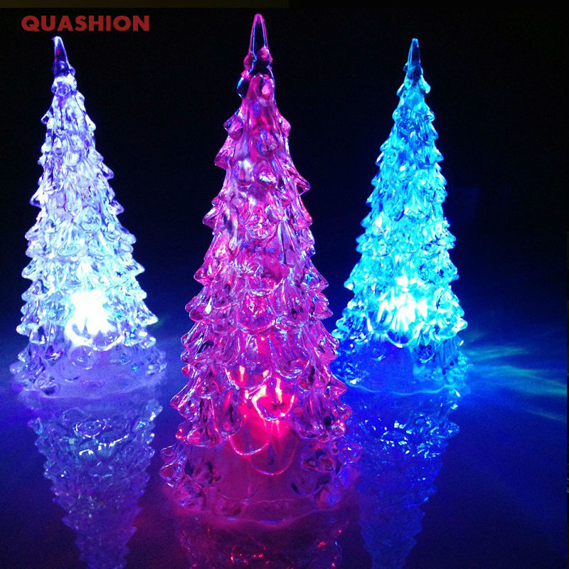 2016 New Changing Acrylic Christmas Tree Night Light Lamp Home Decor LED 7Colors Xmas Gift image