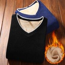 Men sweater plus velvet 2018 new winter Korean style trend V-neck slim male pullover sweater solid color black red blue