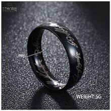 Hobbit Letter Rings Black Stainless Steel the Lord The Rings