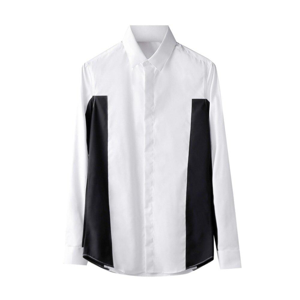 a722489a24 Hombre Nueva Blanco 5xl Camisa Ropa Plus Tamaño Larga Empalme Cantante La  De ¡s Trajes Los Llegada Manga ...