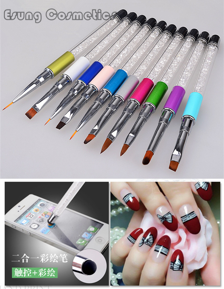 New nail tools mobile phone touch screen painted pen crystal light ...