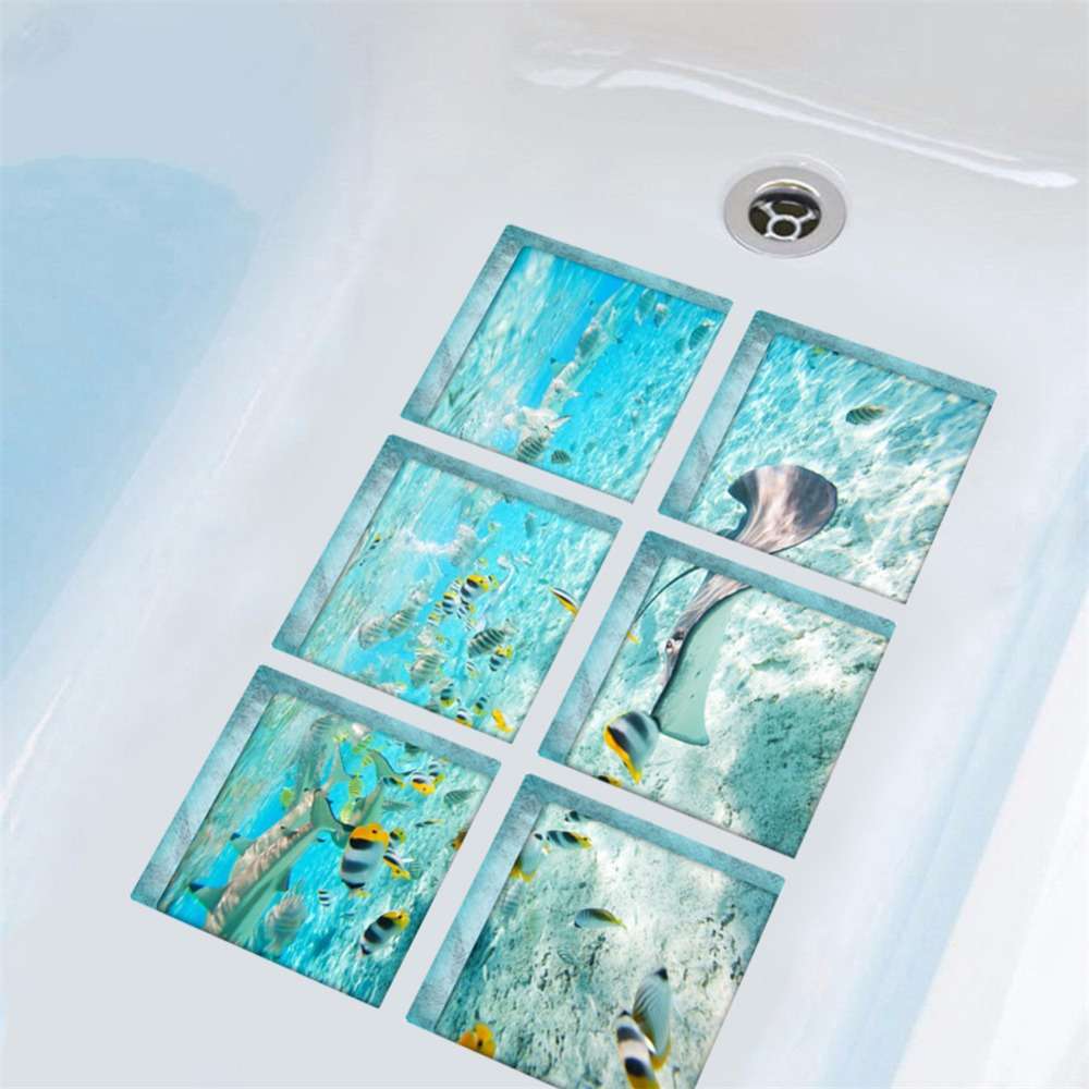 Yanqiao The Underwater World Tub Bathtub Safety Bath Treads Sticker No Slip Peel and Stick 5.9x5.9 6pcs/set