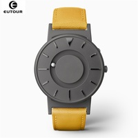 EUTOUR Men Watch Magnetic Ball Pointer Concise Innovate Male Clock Yellow Canvas Band Simple Wristwatches Special