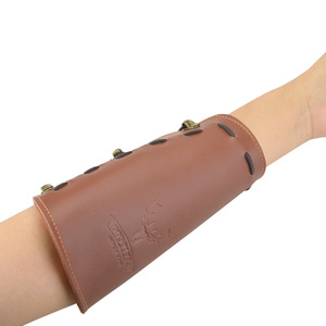 Image 2 - 2pcs Traditional Processed Cowhide Arm Guard Left right Hand Archery Safety Protection Hunting Shooting Protective Gear