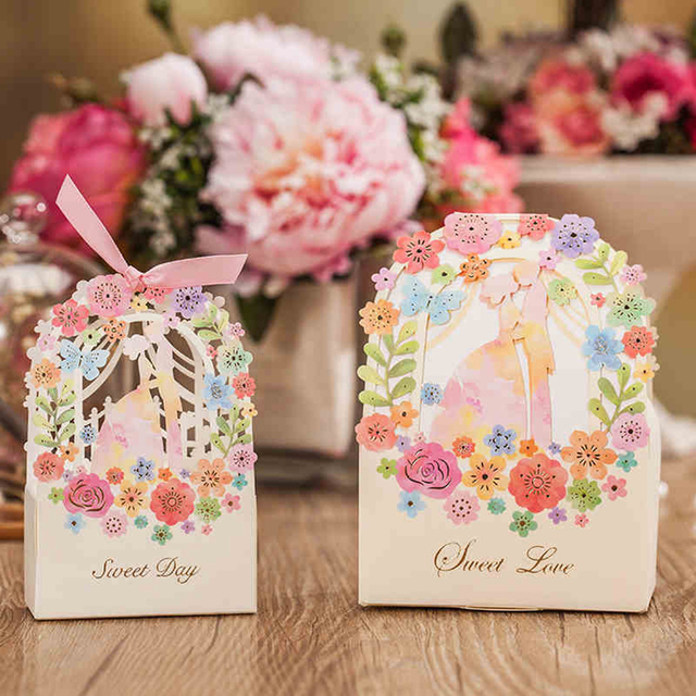 30pcsbag candy box with ribbon lovely flower print box gift 30pcsbag candy box with ribbon lovely flower print box gift cardboard boxes wedding decor negle Image collections