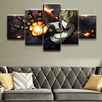 Wall Art Canvas Paintings For Living Room Home Decor 5 Pieces Anime One-Punch Man Genos Pictures Modular Posters Framework 1