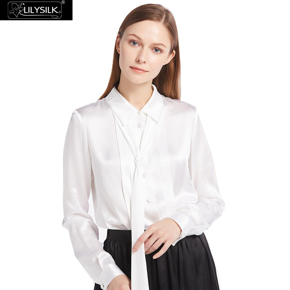 LILYSILK 22mm Button Front Pleated Silk font b Shirts b font 100 Charmeuse Silk Glossy Sophisticated