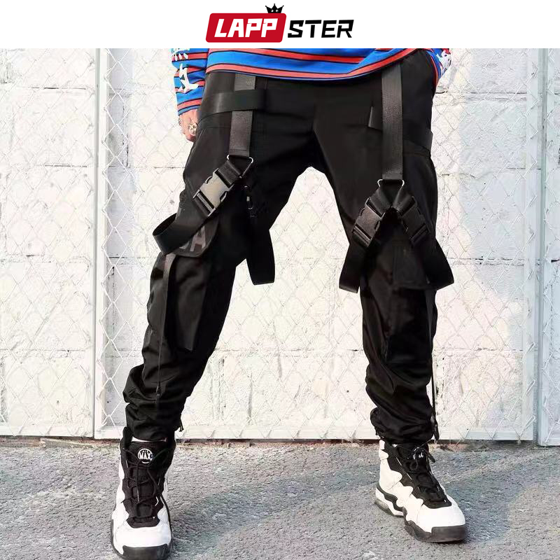 LAPPSTER 2020 Streetwear Hip Hop Ribbons Joggers Pants Cargo Pants Men Japanese Style Black Casual Track Pants Fashions Clothing