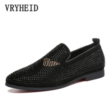 VRYHEID Italian 2019 New Style Leather Men Loafers with Black Rhinestone Fashion Party and Banquet men's casual shoes slip-on 2015free shipping fashion woman italian matching shoes and bags set party italian shoe and bag set with rhinestone oh1 7