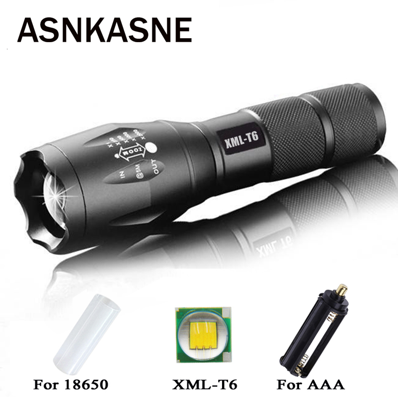 ASNKASNE Cree XML T6 Powerful Waterproof Zoom Focus Aluminium 3800 Lumens LED Flashlight Torch Light For 18650 Or AAA Batteries sitemap 42 xml