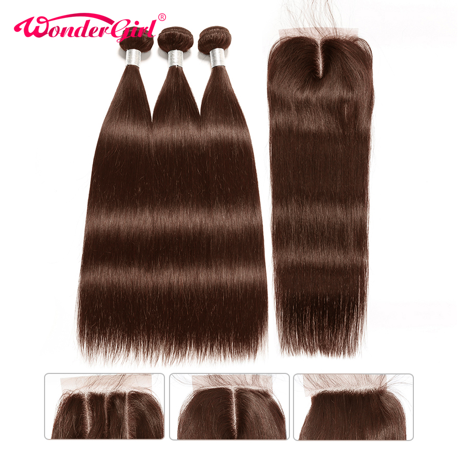 Wonder girl Straight Hair Bundles With Closure Remy Human Hair Bundles With Closure Peruvian Hair Bundles