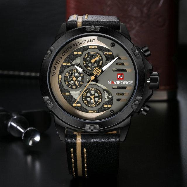 Naviforce Mannen Sport Horloges Top Merk Mens Militaire Quartz Wirst Horloge Lederen 24 Uur Week Datum Analoge Klok Relogio Masculino