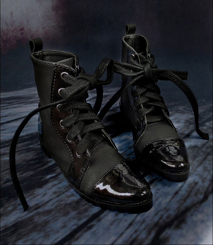 D01 P061 children handmade toy 1/3 1/4 Doll Accessories BJD/SD doll shoes Double leather stitching black strappy ankle boots