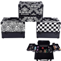 new design Leopard checks leaves ABS&PU Make up Box Makeup Case Beauty Case Cosmetic Bag Multi Tiers Lockable Jewelry Box