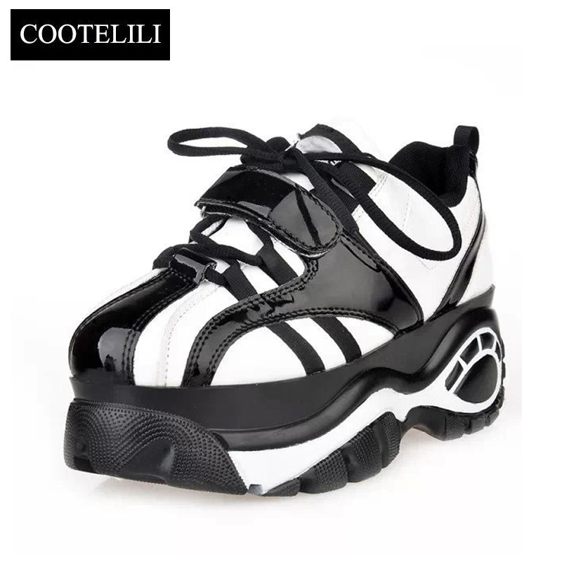 COOTELILI New Sapato Femininos Casual Women Platform Shoes Female Flat Shoes Woman Creepers Lace up Sneakers Lady Zapatos Mujer phyanic 2017 gladiator sandals gold silver shoes woman summer platform wedges glitters creepers casual women shoes phy3323