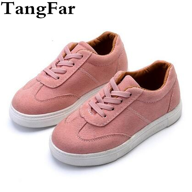 New High Quality Girls Sneakers PU Leather Kids Trainers Breathable Solid Color Soft Bottom children Flats