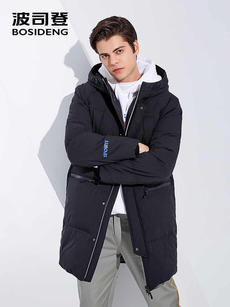 BOSIDENG Зимний пуховик для мужчин, пуховик с капюшоном, длинная пуховая парка, водонепроницаемая легкая местная теплая верхняя одежда, B80142585DS