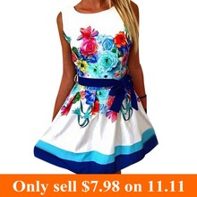 Micky New Arrival Women Fashion Print font b Dress b font Retro O Neck Printing Sleeveless