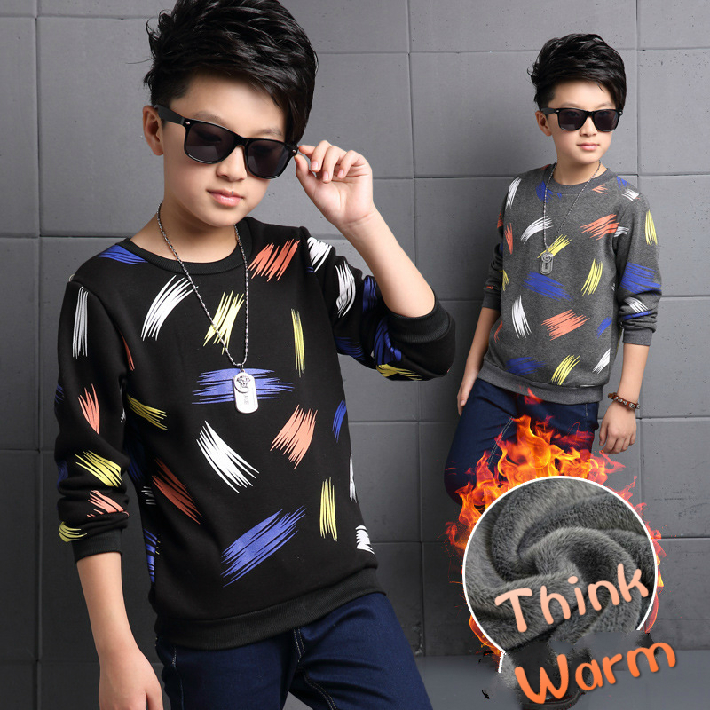 Boys Thick Warm Coats Children T-shirts Kids Long-sleeved Tops Tee Shirts Teenager Girls Clothes T Shirts 2017 New