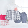 2016 Ttracksuit para bebé infantil de verano de rayas conjuntos Conjunto Inverno Menina 2 unids trajes trajes niños 0-2Y