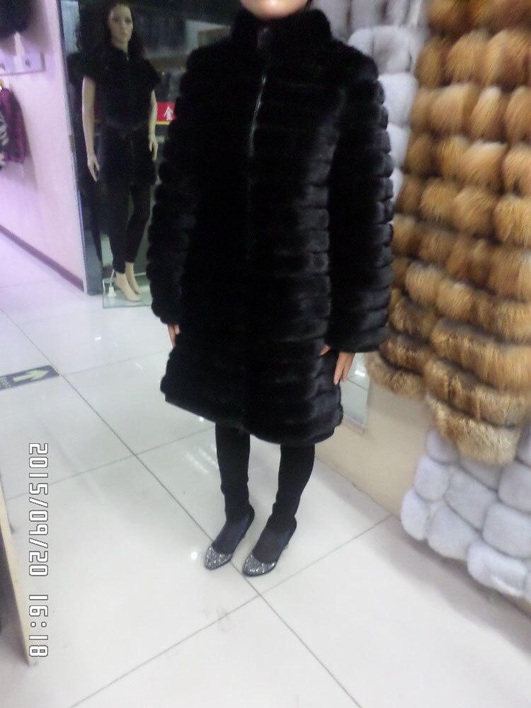 Linhaoshengyue Length 90CM , Real Natural Mink Fur Coat, Long-sleeved, Intervening Leather 3:2
