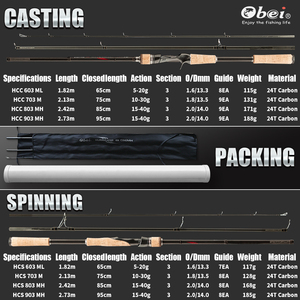 Image 4 - obei hurricane spinning casting carbon fishing rod portable travel spin cast 1.8m 2.1m 2.4m 2.7m  ultra light lure fishing rod