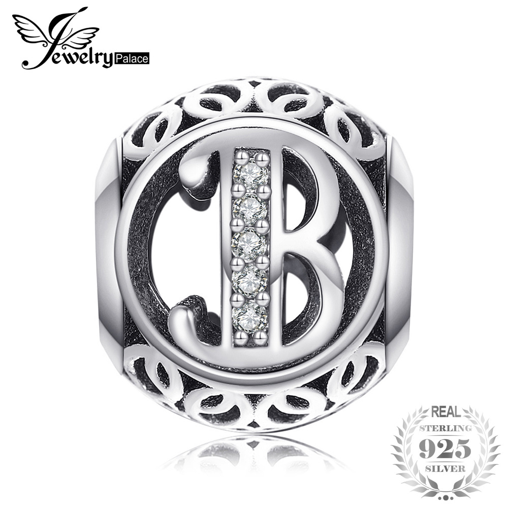 Silver Letter B: Jewelrypalace Cubic Zirconia Beads 925 Sterling Silver