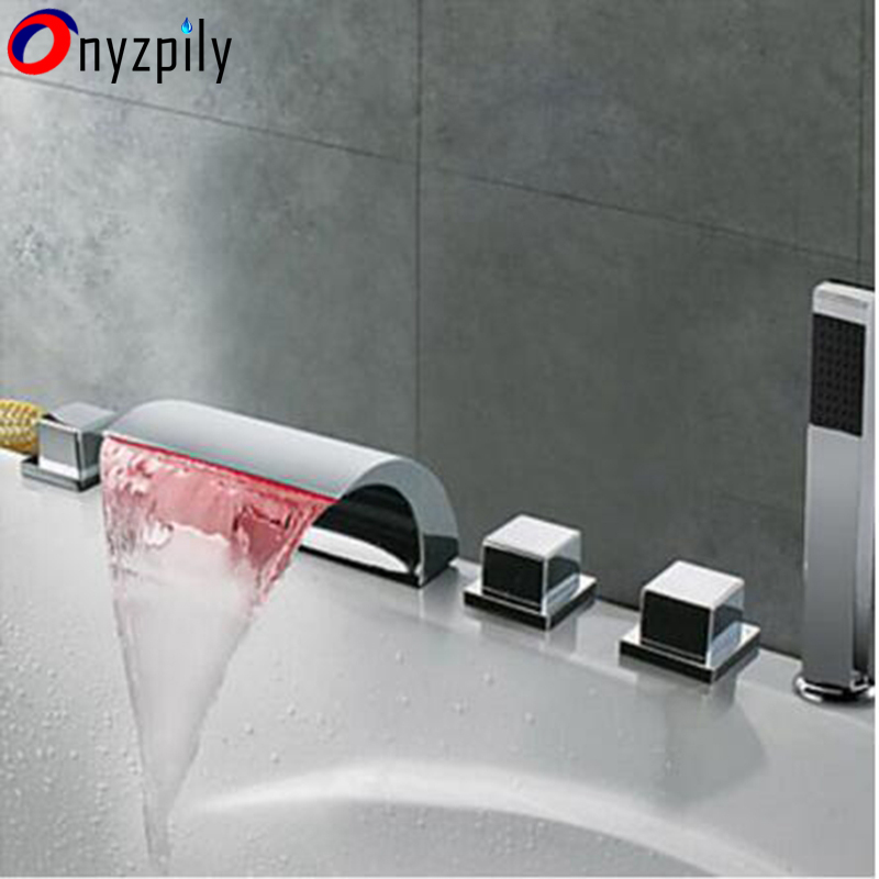LED Color Changing Bathtub Faucet Waterfall Spout Tub Sink Mixer Tap Chrome Bathroom Hot Cold Water Faucet with Handshower brand new waterfall spout bathtub mixer water faucet deck mount tub set mixers tap chrome finish with handshower