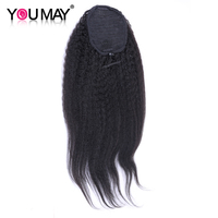 Kinky Straight Human Hair Ponytail Brazilian Clip In Hair Extensions Natural Black Remy You May Hair