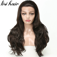 LISI HAIR 26 inches Pure balck color Long Curly Synthetic Lace Front Wigs African American For Women hair Dark Brown