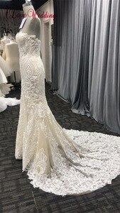 Image 4 - 2020 אופנה חדשה בת ים אפליקציות חתונת שמלה ארוך רכבת ואגלי כלה שמלת robe דה mariee תחרה שרוולים שמלת כלה
