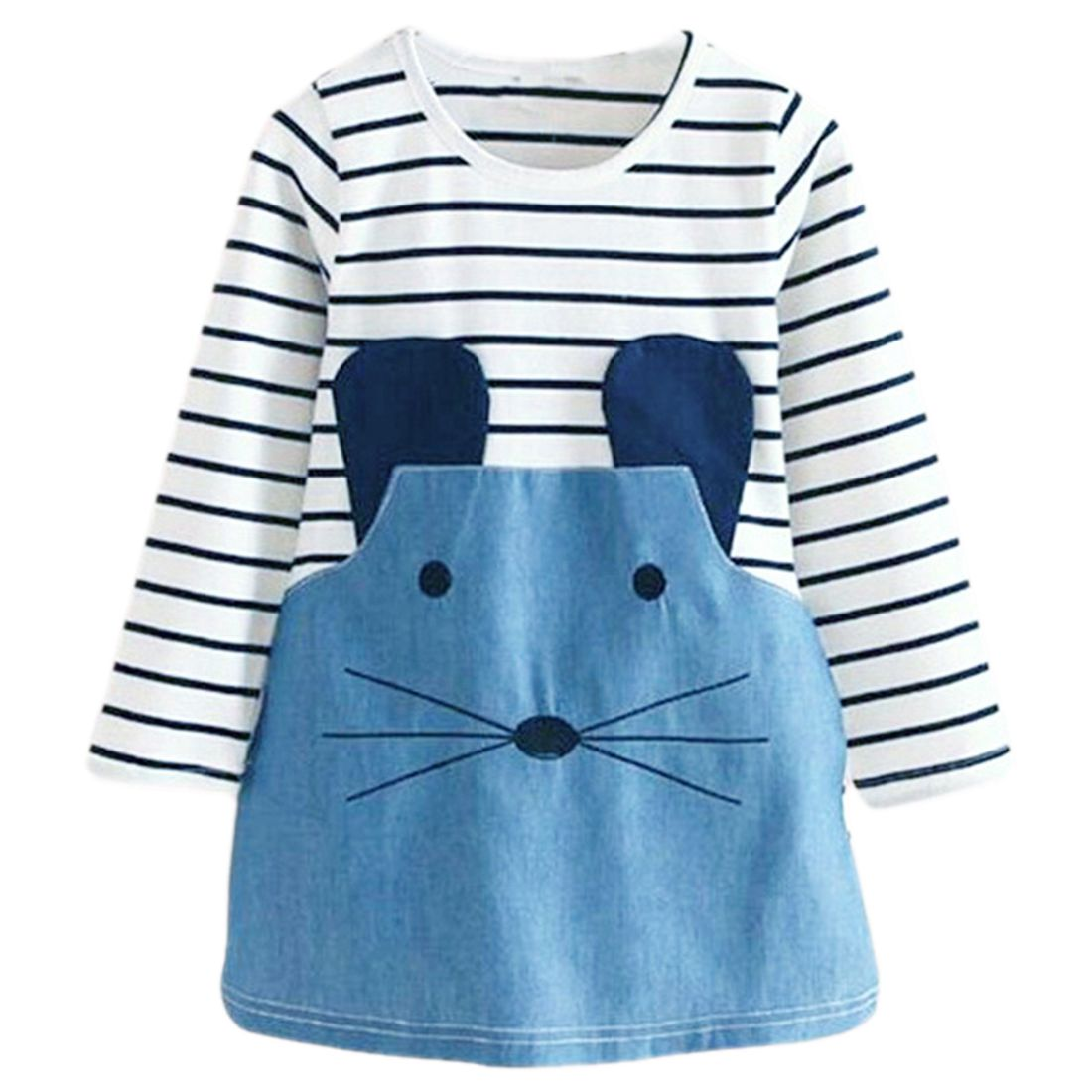 Children New Fashion Striped Patchwork Character Girl Dresses Cute Mouse Clothing Girls Dress Denim Kids Clothes(Long Sleeve)