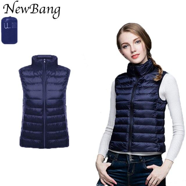 NewBang Brand Women Sleeveless Women's Ultra Light Down Vests Slim Jacket Girl Gilet Plus Lightweight Windproof Warm Waistcoat  1